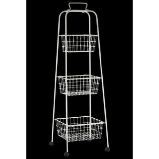 Metal Storage 3 Tiered Cart with Mesh Design and 4 Casters Coated Finish Antique White