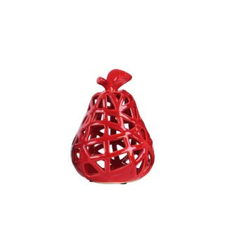 Ceramic Pear Figurine with Leaf on Stem and Cutout Design Body SM Coated Finish Red