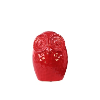 Glossy Red Ceramic Small Round Owl Figurine