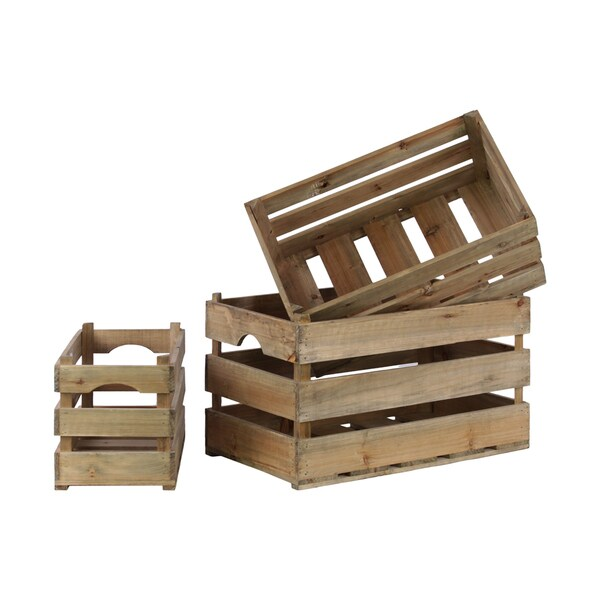 Wood Rectangular Natural Brown Spaced Nesting Crate (Set of 3)