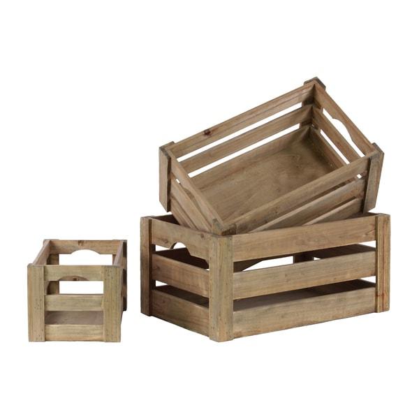 natural wood cutout handle nesting crate set of 3. Black Bedroom Furniture Sets. Home Design Ideas