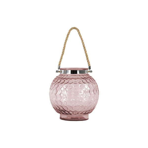 Metal and Rope Stained Pink Glass Round Bellied Lantern