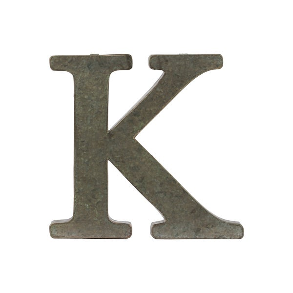 Bronze Metal Alphabet Tarnished Wall Decor 'K' Letter