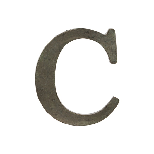 Bronze Metal Alphabet Tarnished Wall Decor 'C' Letter