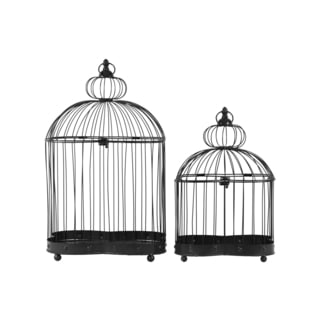 Black Iron Distressed Wire Sphere Top Rectangular Nesting Birdcage with Ring Handle (Set of 2)