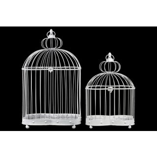 White Iron Distressed Wire Sphere Top Rectangular Nesting Birdcage with Ring Handle (Set of 2)