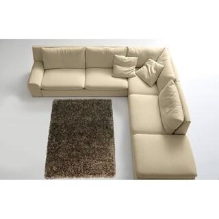 LYKE Home Contemporary Black and Grey Handmade Shag Area Rug (8' x 11')
