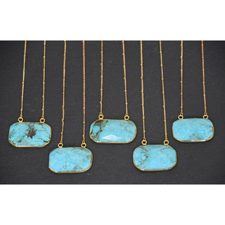 Mint Jules 24k Gold Overlay Turquoise Faceted Stone Horizontal Bar Pendant Necklace