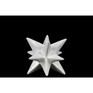 Glossy White Finish Ceramic Small Stellated Icosahedron Sculpture
