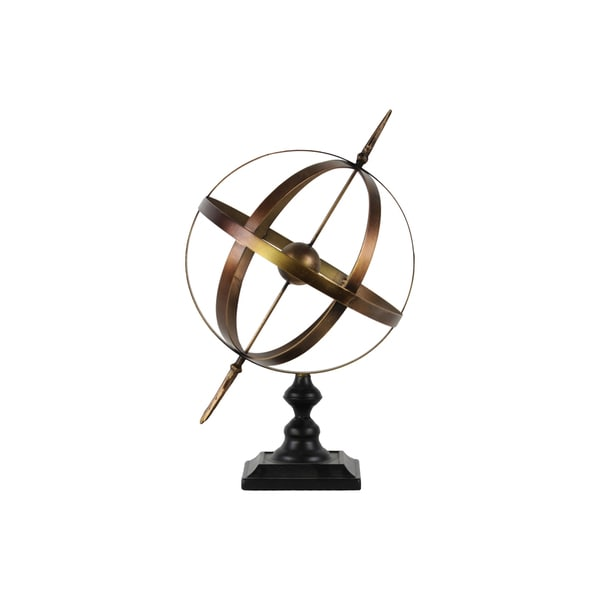 Metallic Antique Gold Finish Metal Orb Dyson Sphere with Directional Arrow, Ball and Stand