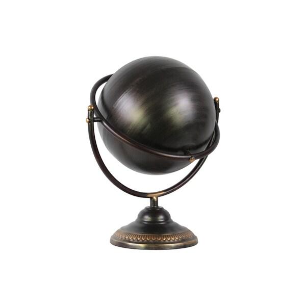Tarnished Finish Gunmetal Grey Metal Globe Sculpture on Stand