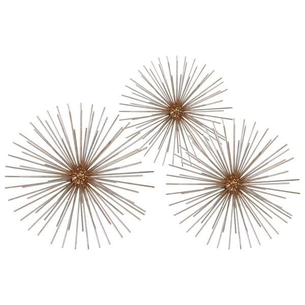 Electroplated Finish Antique Goldtone Metal Ball Sculpture Sea Urchin Design (Set of 3) 17539136