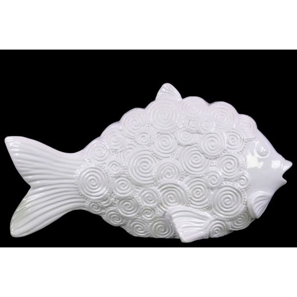 Ceramic Fish Figurine with Round Swirl Scales LG Gloss Finish White