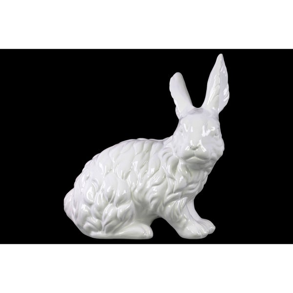 Ceramic Sitting Rabbit Figurine with Ears Up Gloss Finish White