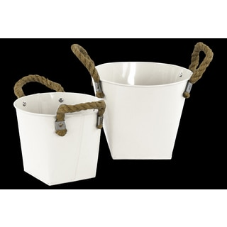 Coated Finish White Zinc Round Bucket with Rope Handles, Ribbed Sides and Tapered Square Bottom (Set of 2)