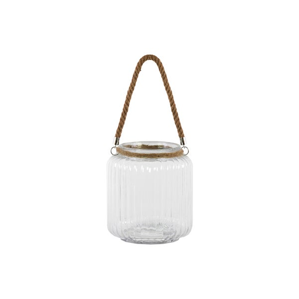 Large Clear Glass Finish Achromatic Glass Round Hurricane Lantern with Rope Hanger and Ribbed Sides