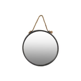 Tarnished Finish Gunmetal Gray Metal Round Wall Mirror with Rope Hanger