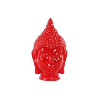 Glossy Red Finish Ceramic Buddha Head with Pointed Ushnisha