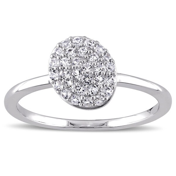 Miadora Sterling Silver White Topaz Beaded Ring