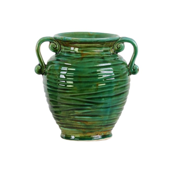 Ceramic Green Gloss Ribbed Design Round Bellied Vase with Tapered Bottom and Side Handles 17539491