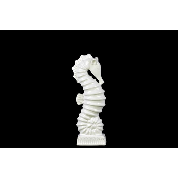 Small Matte White Finish Ceramic Seahorse Figurine on Rectangle Ribbed Base
