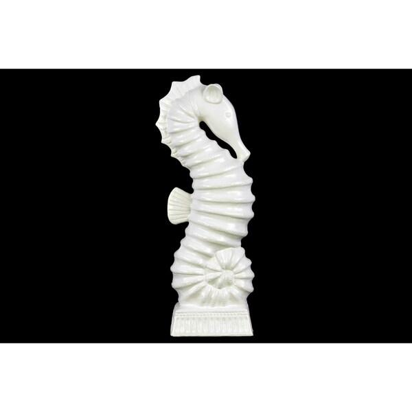 Ceramic Large Matte White Finish Seahorse Figurine on Rectangle Ribbed Base