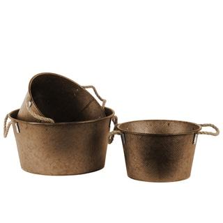 Galvanized Finish Bronze Zinc Short Round Bucket with Rope Handles (Set of 3)
