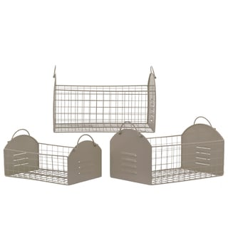 Gloss Finish Taupe Metal Rectangular Basket with Metal Handles and Mesh Sides (Set of 3)