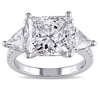 Miadora Signature Collection 18k White Gold 6 3/4ct TDW Certified Princess-cut Diamond 3-stone Engagement Ring (E-F, SI2-I1)