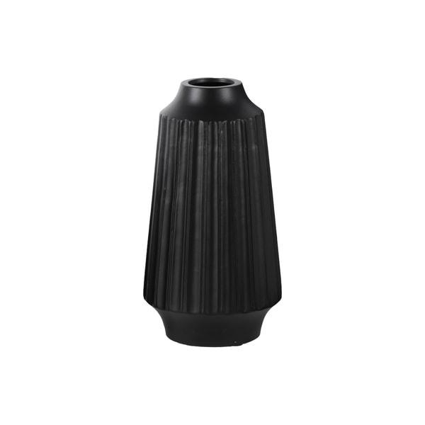Matte Black Ceramic Large Ribbed Round Lip Round Vase