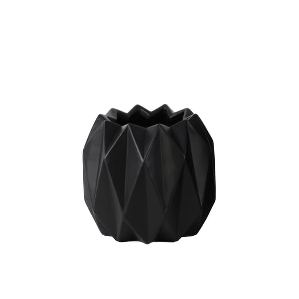 Matte Black Ceramic Ribbed Round Short Uneven Lip Vase