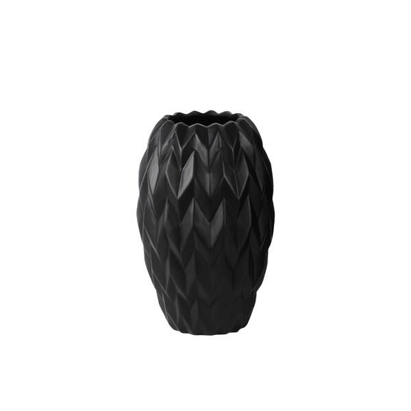 Gloss Black Ceramic Small Round Embossed Wave Round Lip Vase