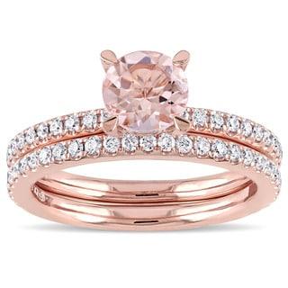 Miadora Signature Collection 14k Rose Gold Morganite and 3/5ct TDW Diamond Bridal Ring Set (G-H, I1-I2)