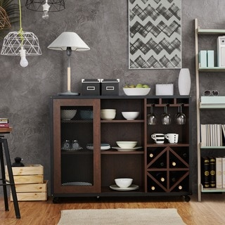 Furniture of America Misenia Industrial Style Walnut Sliding Door Buffet/Server