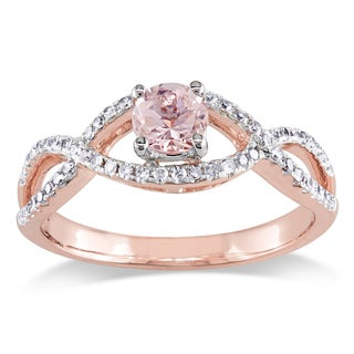 Miadora Signature Collection 14k Rose Gold Morganite and 1/4ct TDW Diamond Infinity Engagement Ring (G-H, I1-I2)