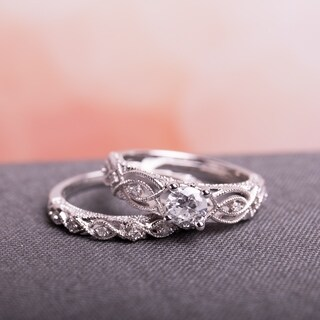 Miadora Signature Collection 10k White Gold 3/4ct TDW Diamond Vintage Filigree Bridal Ring Set (G-H, I2-I3)