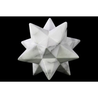 Large Marbleized with Grey Streaks Gloss Finish White Ceramic 12-point Stellated Icosahedron Sculpture