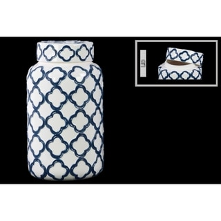 Large White Coated Ceramic Canister with Embossed Quatrefoil Design