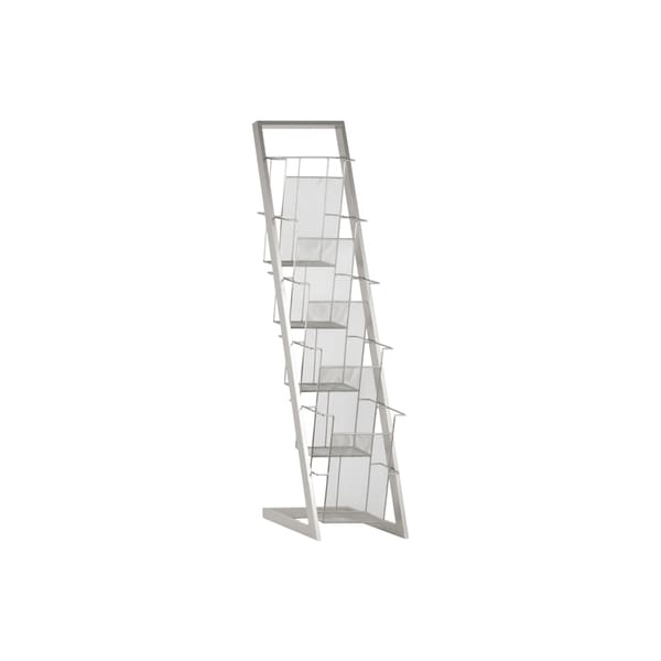 Silver Finished Iron Magazine Rack with Five Wire Mesh Sides Bins and Easel Stand