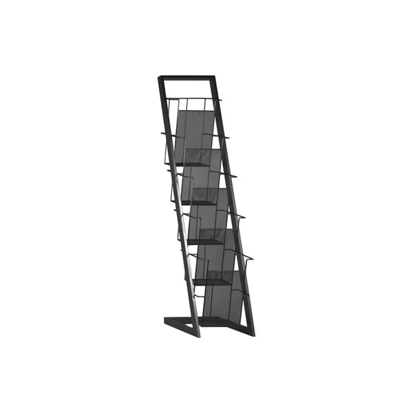 Coated Grey Finished Iron Magazine Rack with Five Wire Mesh Sides Bins and Easel Stand