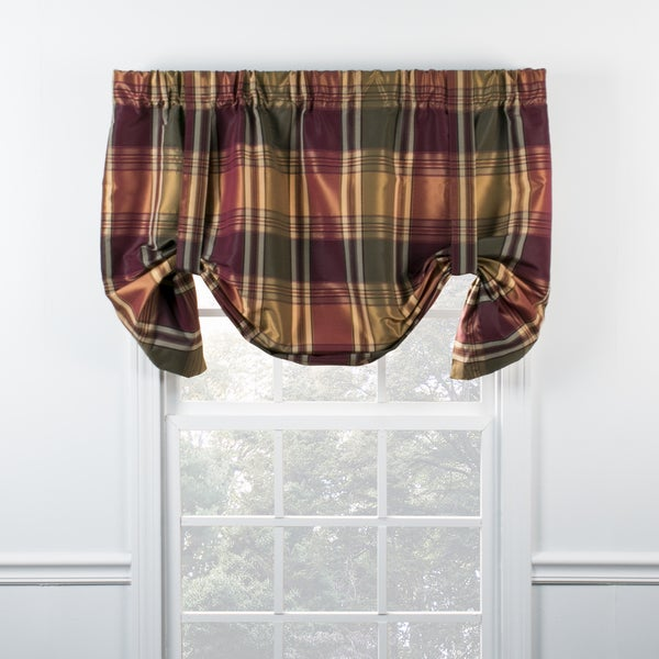Boroughs Plum Plaid Tie Up Valance