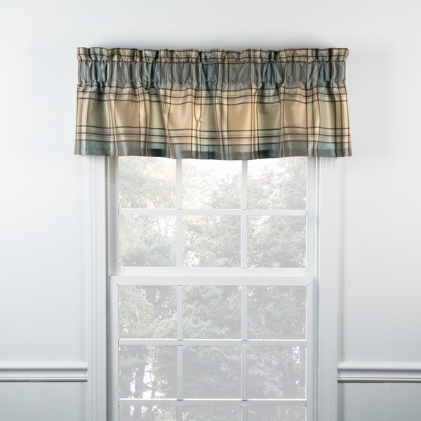 Boroughs Blue Plaid Tailored Valance
