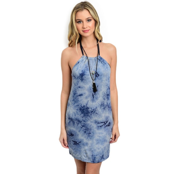 Shop the Trends Women's Tie-Dye Sleeveless Short Dress