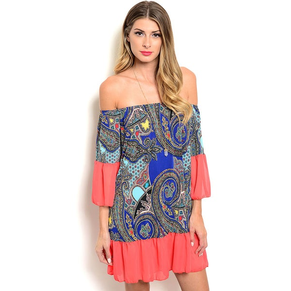 Shop the Trends Women's Off-The-Shoulder Sleeve Dress