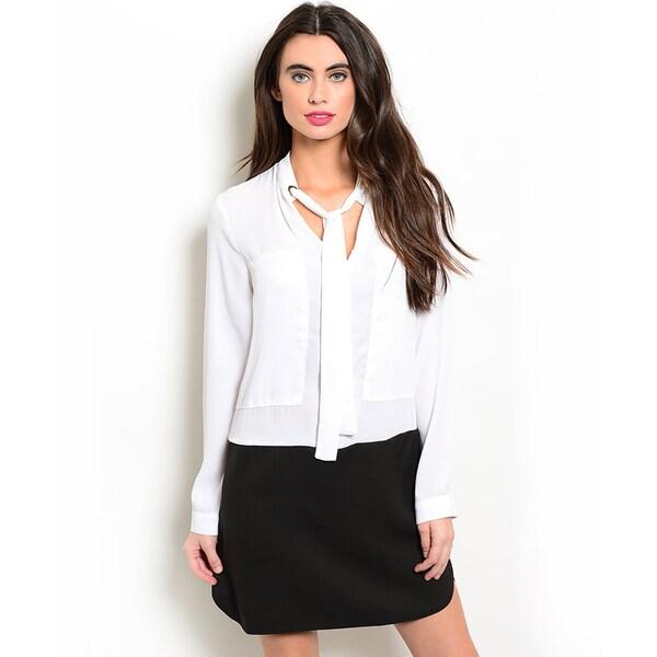 Shop the Trends Women's Long-Sleeve Woven Combination Dress