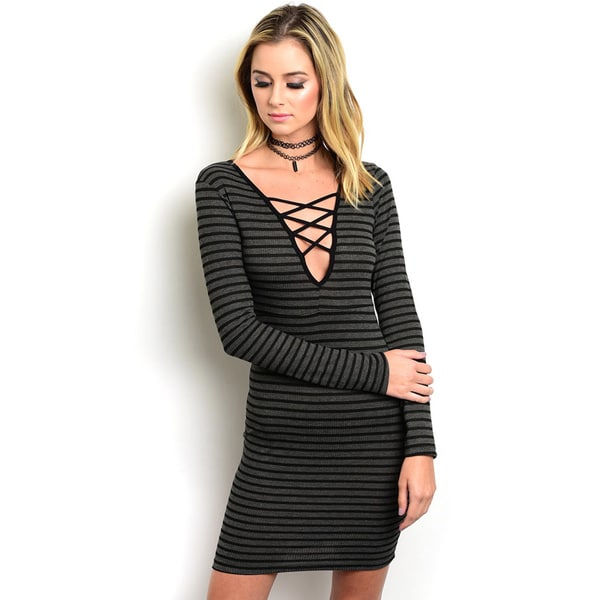 Shop the Trends Women's Long-Sleeve Knit Bodycon Mini Dress