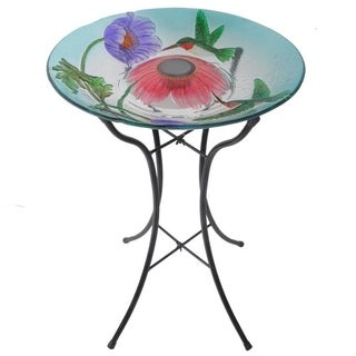 Peaktop Outdoor Garden Solar Hummingbird Glass Bird Bath