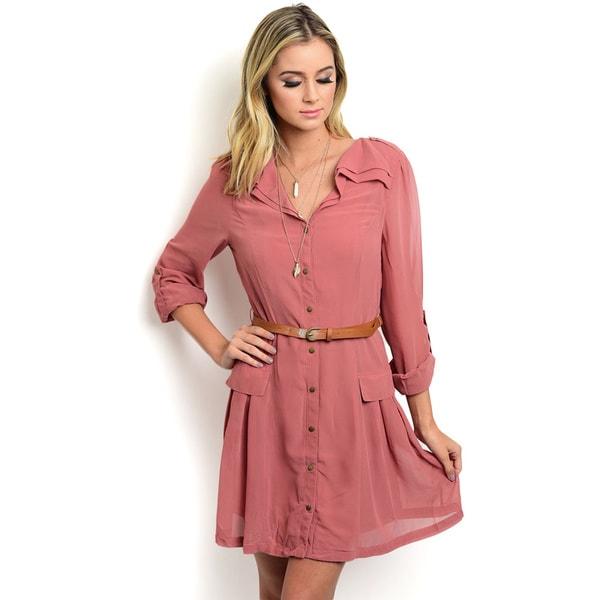 Shop the Trends Women's Folded Sleeve Woven Shirt Dress