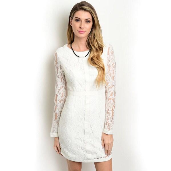 Shop the Trends Women's Long-Sleeve Lace Dress