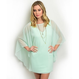 Shop the Trends Women's Batwing Sleeve Sheer Dress
